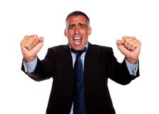 Happy executive screaming and celebrating Stock Photography