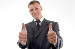 Happy executive with thumbs up Royalty Free Stock Images