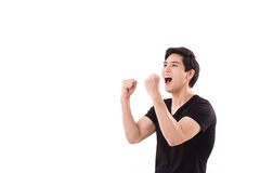 Happy, exited man shouting up. Happy, exited man shouting, raising his arms up Royalty Free Stock Images