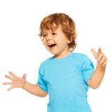 Happy exited two years old kid stock photos