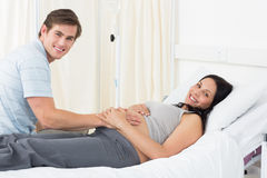 Happy expectant couple in hospital Royalty Free Stock Photo