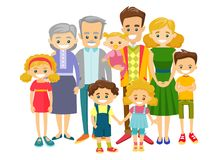 Happy extended caucasian smiling family. Happy extended caucasian smiling family with old grandparents, young parents and many children. Portrait of big family royalty free illustration