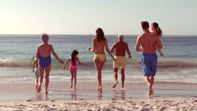 Happy extended family running. On the beach stock video