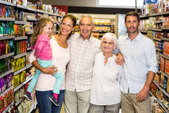 Happy extended family at the supermarket Royalty Free Stock Photography
