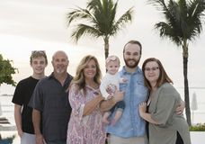 Happy Extended Family on Vacation & the Beach at a Resort in Mex Royalty Free Stock Photo
