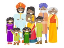 Happy extended indian family with cheerful smile. Royalty Free Stock Photo