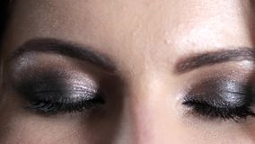 Happy eyes of girl with evening vivid make-up, gentle look. Happy eyes of girl with evening vivid make-up close-up, gentle look stock video footage