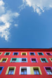 Happy facade. Colorful facade in Berlin kreuzberg with beautiful blue summer sky as funny background Royalty Free Stock Photo