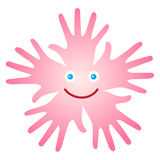 Happy face. Vector isolated  pink happy face from group of pink palms with smile and blue eyes on white background - kids theme Stock Photography