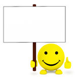 Happy face ball with blank poster in hand Royalty Free Stock Images