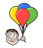 Happy face with balloons Stock Image