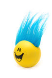 Happy Face with Blue Hair. A happy face with wild blue hair grins at you Royalty Free Stock Photos