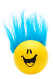Happy Face with Blue Hair. A happy face with wild blue hair grins at you Stock Image