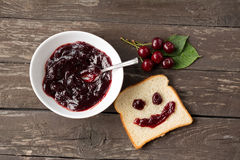 Happy face bread, strawberry jam, cherry, breakfast Royalty Free Stock Photography
