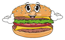 Happy face of burger. Smiling and happy face of burger show his hands Stock Photography