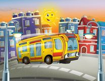 The happy face bus in the city royalty free illustration