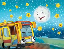 The happy face bus in the city Stock Image
