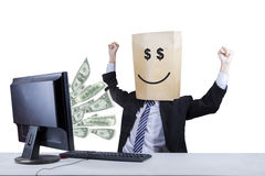 Happy face of businessman looking money 2 Stock Photo