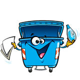Happy face cartoon recycle trash bin anthropomorphic character r Royalty Free Stock Photography