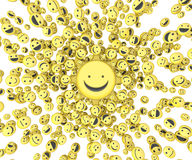 Happy Face Center. Happy face small icon 3d objects, horizontal, over white Royalty Free Stock Image