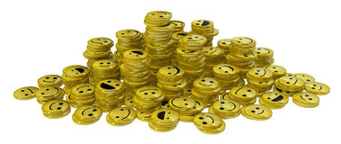 Happy Face Coin Stacks. Happy face small icon 3d objects, horizontal, over white Stock Photography