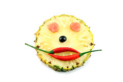 Happy Face of Emotion image made ​​from mix fruits. Royalty Free Stock Images