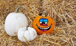 Happy face on fall pumpkin Royalty Free Stock Photos