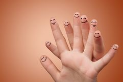 Smile fingers together. Happy face fingers hugs each other stock photos