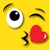 Happy face flirty kisses.  Stock Photos