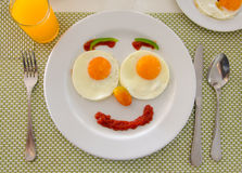 Happy Face Frying Eggs breakfast Stock Image