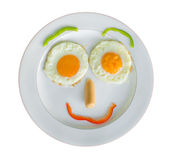 Happy Face Frying Eggs for breakfast isolate on white Stock Images