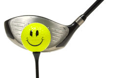 Happy face golf ball Royalty Free Stock Photos