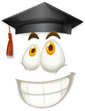 Happy face with graduation cap Stock Photography
