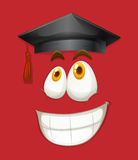 Happy face with graduation cap Stock Images