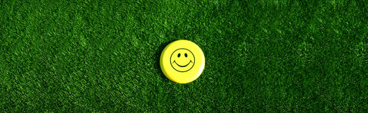 Happy Face in Grass. A Happy Face sits in the middle of a grass lawn in the summer Royalty Free Stock Photo