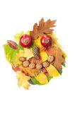 Happy face made of autumn fall leaves and fall decorations Royalty Free Stock Photography