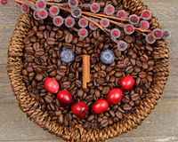 A happy face. A face made with berries and coffee beans Royalty Free Stock Photography