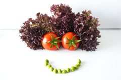 Happy face made of vegetables with hair, white background royalty free stock photos