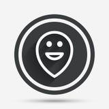 Happy face map pointer symbol. Smile icon. Stock Photo