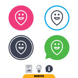 Happy face map pointer symbol. Smile icon. Stock Image
