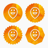 Happy face map pointer symbol. Smile icon. Royalty Free Stock Photography