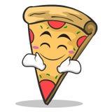 Happy face pizza character cartoon. Vector illustration Stock Image