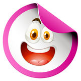 Happy face on round badge Royalty Free Stock Photos