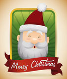 Happy Face Santa in Christmas Button, Vector Illustration Royalty Free Stock Photography