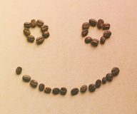 Happy face shaped of coffee beans Stock Photo