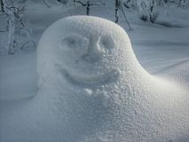 Happy Face in Snow Stock Photo