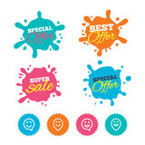 Happy face speech bubble icons. Pointer symbol. Best offer and sale splash banners. Happy face speech bubble icons. Smile sign. Map pointer symbols. Web stock illustration