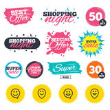 Happy face speech bubble icons. Pointer symbol. Sale shopping banners. Special offer splash. Happy face speech bubble icons. Smile sign. Map pointer symbols vector illustration