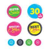 Happy face speech bubble icons. Pointer symbol. Super sale and best offer stickers. Happy face speech bubble icons. Smile sign. Map pointer symbols. Shopping vector illustration