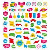 Happy face speech bubble icons. Pointer symbol. Web banners and labels. Special offer tags. Happy face speech bubble icons. Smile sign. Map pointer symbols stock illustration